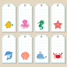 Gift Tags With Cartoon Sea Animals