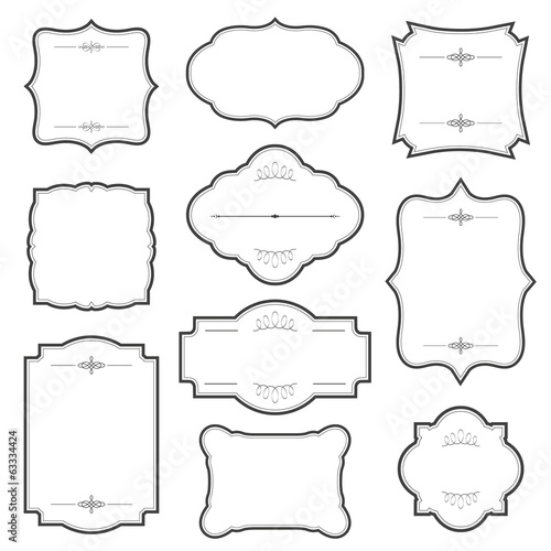 Vintage frame set isolated on white. Wall mural