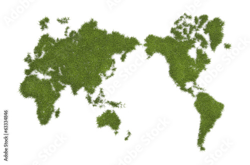 Foto op Canvas Wereldkaart World map from grass - isolated over a white background