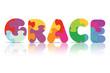 Vector GRACE written with alphabet puzzle