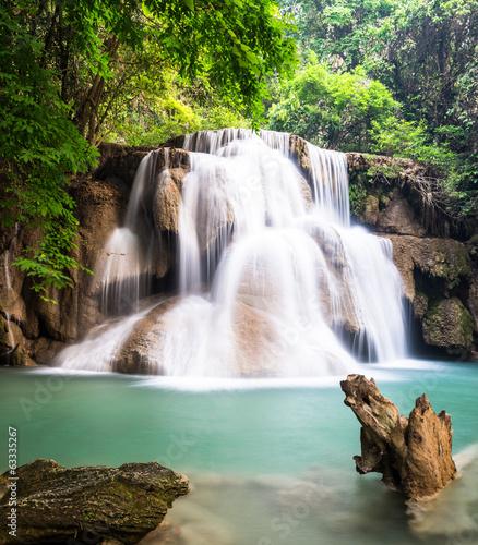 Waterfall at Kanchanaburi, Thailand - 63335267