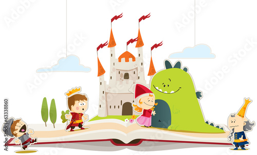 Foto op Canvas Kasteel Livre de conte dragon & princesse