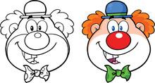 Clown Face Cartoon Character. Collection Set
