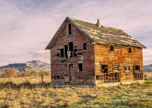 Forgotten Homestead In Idaho At Sunset