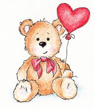 Teddy Bear With Heart Balloon