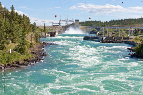 Photo sur Toile Barrage Whitehorse hydro power dam spillway Yukon Canada