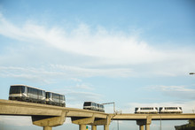 Sky Trains Traveling On Rails To Phoenix Sky Harbor Airport