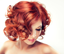 Beautiful Model Red With Curly...