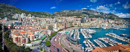 Wall Murals F1 Panoramic view of Monte Carlo in Monaco.