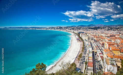 Fotobehang Nice Panoramic view of Nice coastline and beach, France.