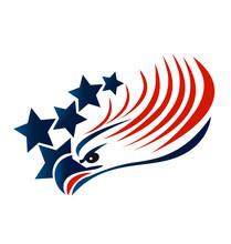 Bald Eagle American Flag Logo Vector
