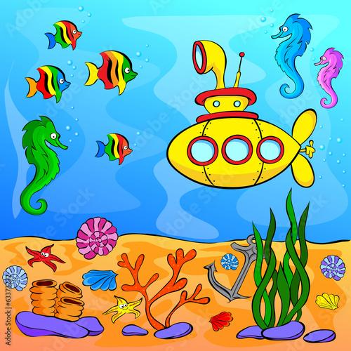Láminas  Underwater world with yellow submarine