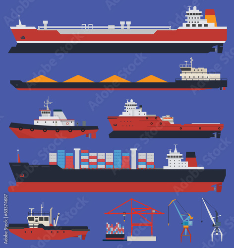 Fotografia  Cargo ships and tug boats infographic