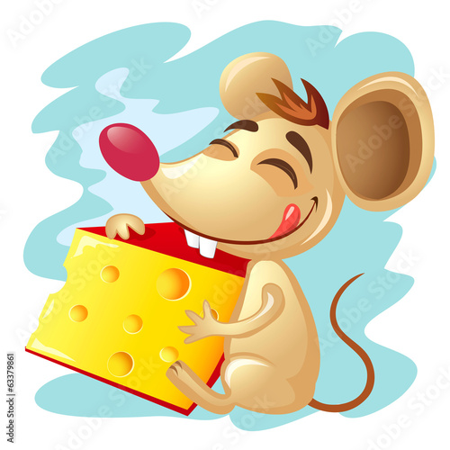 Cartoon mouse holding a wedge of cheese