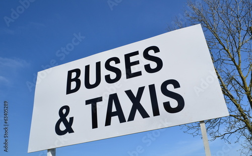 Buses and Taxis sign. Fotobehang