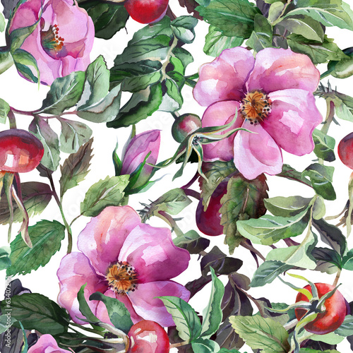 Rose Hip Seamless Pattern