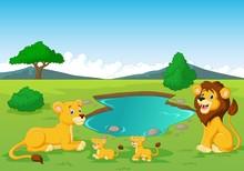 Cartoon Lion Family Near Watering Hole