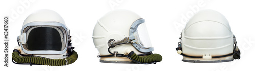 Fotografija Set of astronaut helmets isolated on a white background.