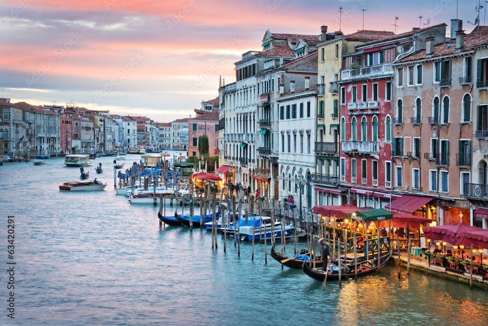Fototapety, obrazy: Venice, sunset from the rialto bridge
