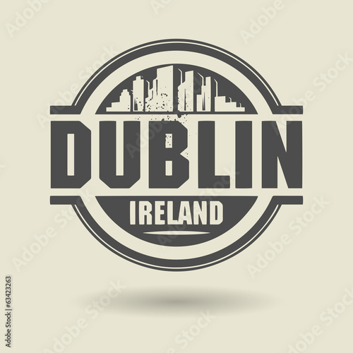 Photo  Stamp or label with text Dublin, Ireland inside, vector
