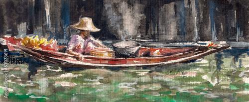 kobieta-sprzedaje-jedzenie-na-splawowym-rynku-w-thailand-watercolors