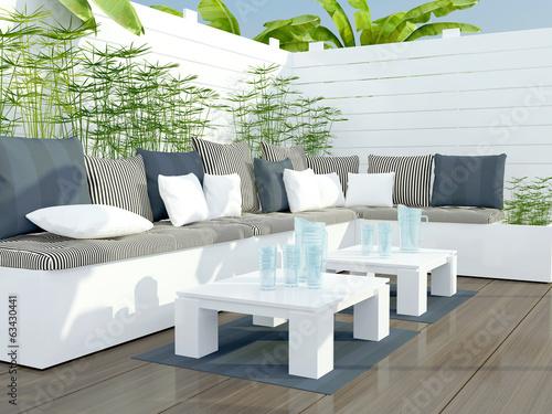 Fotografía  Outdoor patio seating area.