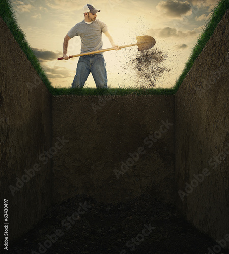 Dirt into a grave. Canvas-taulu
