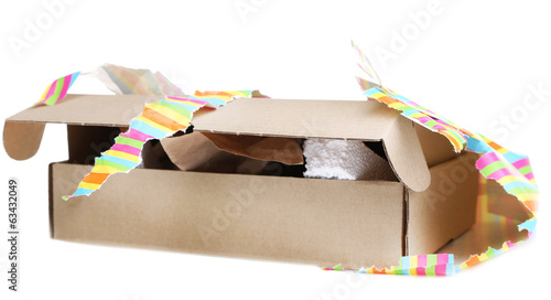 Unwrapped gift box isolated on white Canvas Print