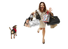 Smiling Girl On Shopping
