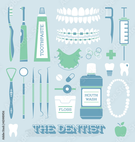 Fotografie, Obraz  Vector Set: Dentist and Tooth Care Icons