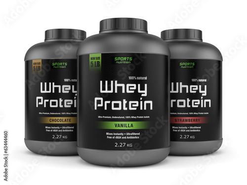 Fotografie, Obraz  Three whey protein jars isolated on white