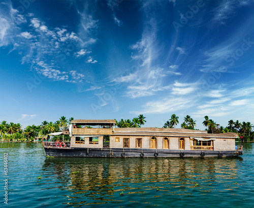 Houseboat on Kerala backwaters, India Canvas Print
