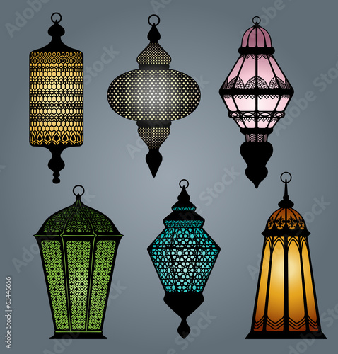 High quality vector set of arabic lantern part 2 Poster