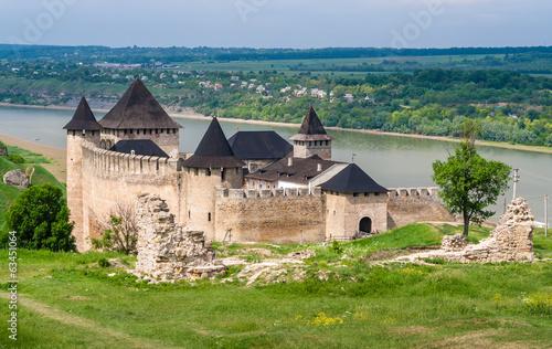 Photo  Khotyn castle on Dniester riverside. Ukraine