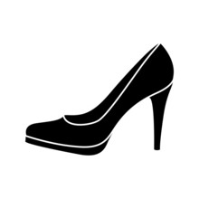 Black And White Lady's Shoe Icon.