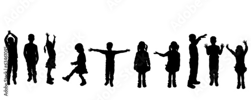 Vector silhouette of children. - 63461045