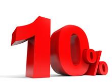 Red Ten Percent Off. Discount 10%.