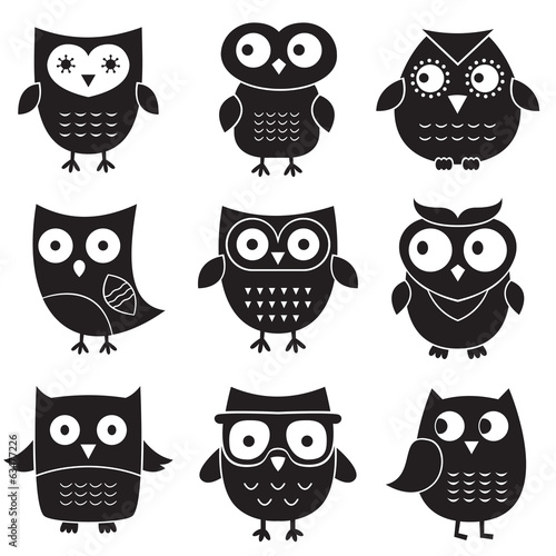 Canvas Prints Owls cartoon Owls, isolated design elements