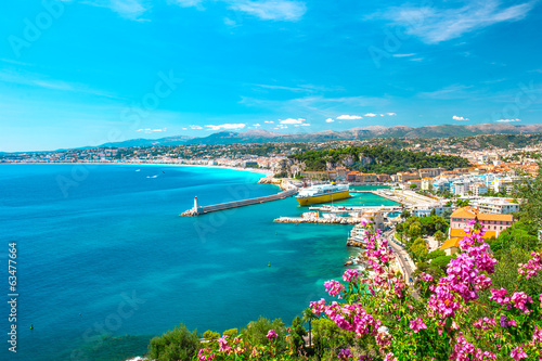 Nice city, french riviera, mediterranean sea Poster