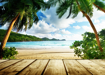 Fototapeta Molo seychelles beach and wooden pier