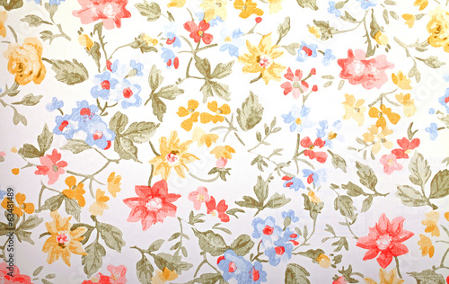 Vintage provance wallpaper with floral pattern Wallpaper Mural