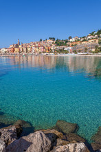 Town Of Menton On Mediterranean Sea.