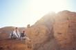 girls hiking on the rocks