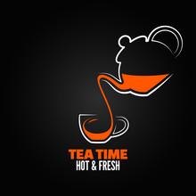 Tea Cup Design Menu Backgraund