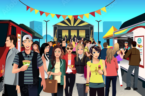 Fotografie, Obraz  People in street food festival