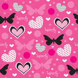 butterfly and heart pattern vector illustration