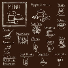 Fototapeta Potrawy i napoje Hand drawn restaurant menu design elements on blackboard