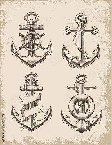 Hand Drawn Anchor Set Canvas Print