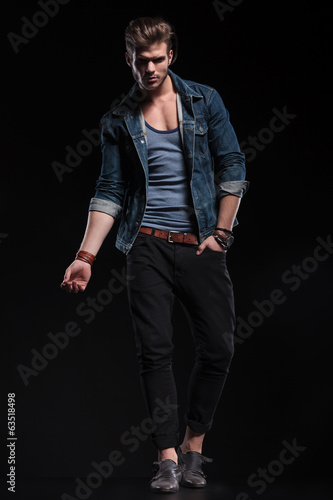 full body picture of a fashion man in a sexy pose , Buy this