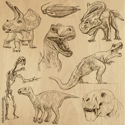 dinozaury-nr-3-ilustracje-rysowane-recznie-wektor-zestaw